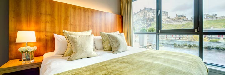A Castle View Superior double bedroom at the Apex Grassmarket Hotel, Edinburgh