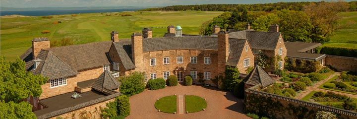 An aerial view of Greywalls Hotel in Gullane