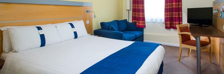 A double bedroom at the Holiday Inn Express Dunfermline