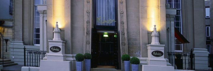 The entrance and exterior of the Malmaison Glasgow Hotel
