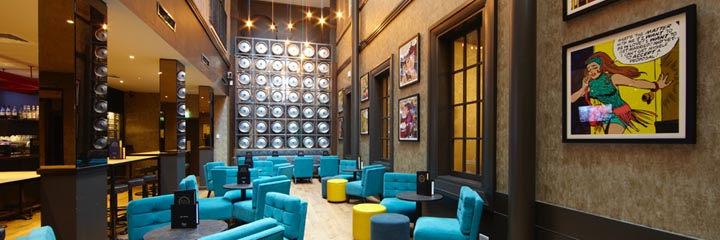 The bar lounge of the Malmaison Glasgow Hotel