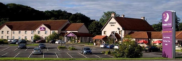 An external view of the Premier Inn Falkirk East hotel