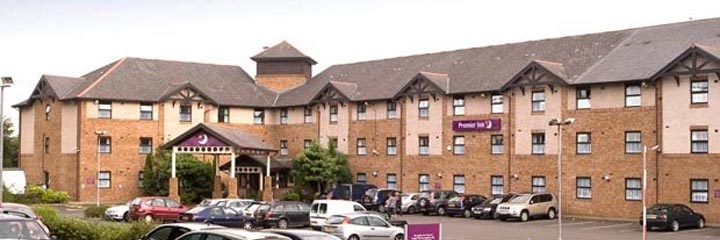 An exterior view of the Premier Inn Glasgow Airport hotel