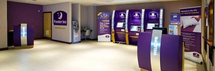 The reception area at the Premier Inn Glasgow City Centre Buchanan Galleries hotel