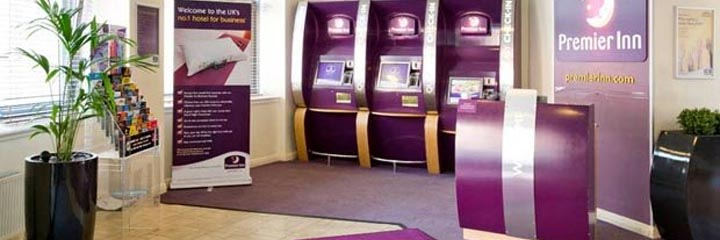 The reception area at the Premier Inn Glasgow City Centre George Square hotel