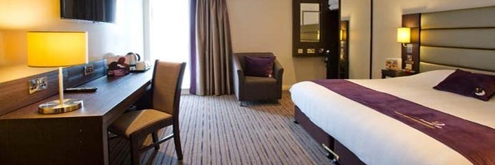 A double bedroom at the Premier Inn Glasgow Pacific Quay, SECC hotel