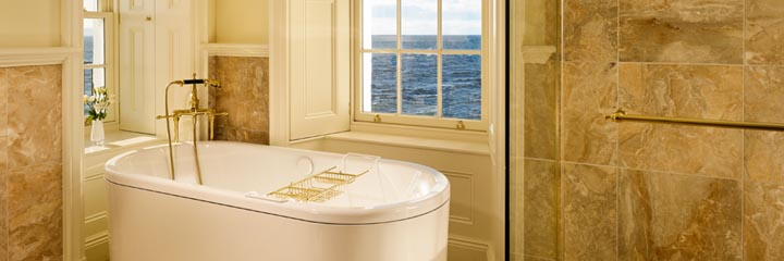 The bathroom in the Lighthouse Suite of the Trump Turnberry Hotel