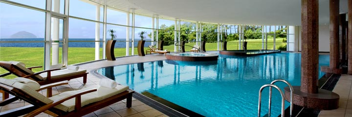 The swimming pool at the Trump Turnberry Hotel Spa