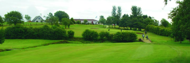 Looking up the 18th hole at Ardeer Golf Club