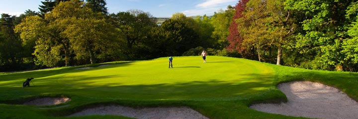 The 16th green of the championship course at Cawder Golf Club