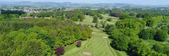 An aerial view of the Montgomery golf course in Kinross