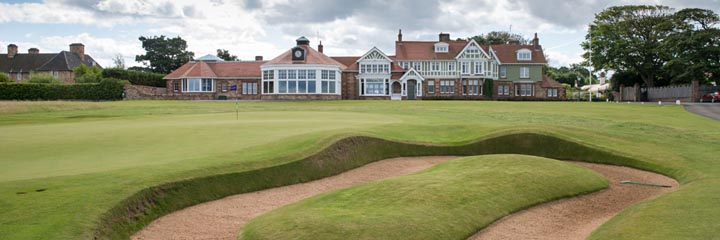 The 18th green and Clubhouse at Muirfield golf course, Gullane