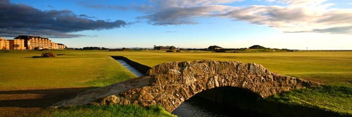 The Swilcan Bridge at the 18th hole of the Old Course, St Andrews