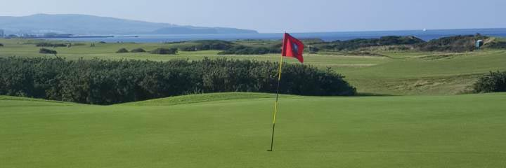 Prestwick St Nicholas golf course with a view across the Clyde to the Isle of Arran