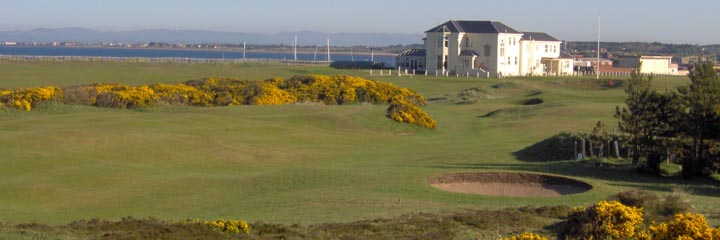 Looking across the links to the clubhouse at Prestwick St Nicholas Golf Club
