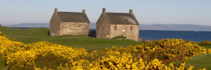the old Salt Pan buildings at Prestwick St Nicholas Golf Club on the shores of the Clyde