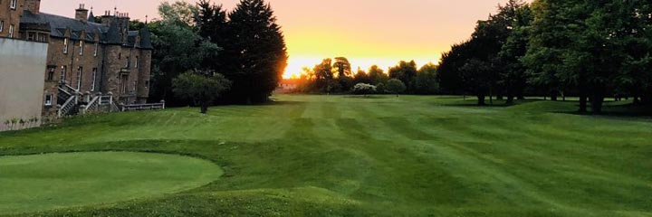 Sunset over Royal Musselburgh golf course near Edinburgh