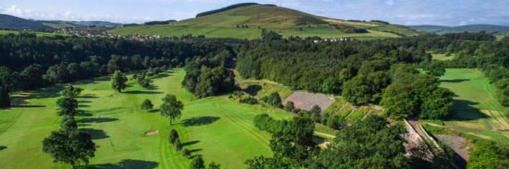 An aerial view of Torwoodlee golf course in the Scottish Borders