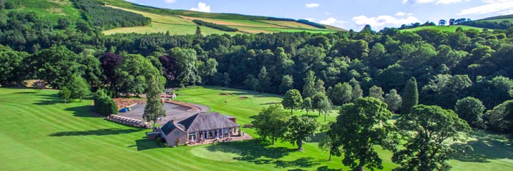 An aerial view of the clubhouse at Torwoodlee Golf Club