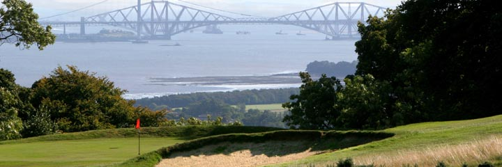 The view from West Lothian Golf Club across the Firth of Forth to the Forth Bridge