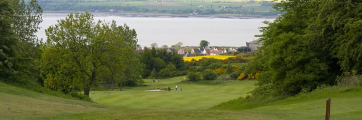 A view down the 3rd hole of West Lothian Golf Club from the tee, looking across the Firth of Forth